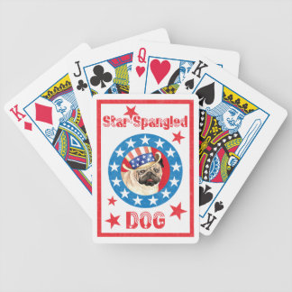 Patriotic Pug Bicycle Playing Cards