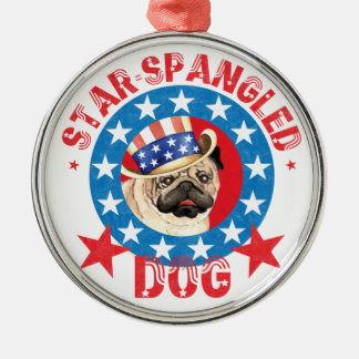 Patriotic Pug Christmas Ornament