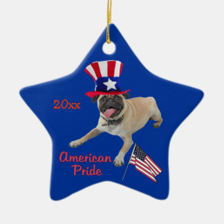 Patriotic Pug Keepsake Ornament