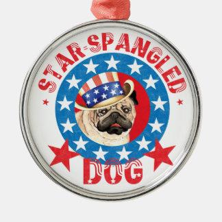 Patriotic Pug Silver-Colored Round Decoration