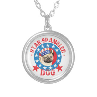 Patriotic Pug Silver Plated Necklace