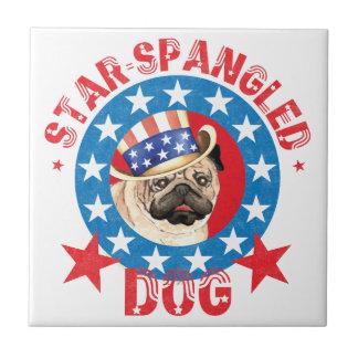 Patriotic Pug Tile