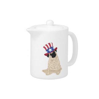 Patriotic Pug Uncle Sam stars stripes