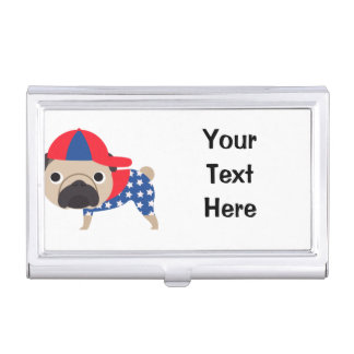 Patriotic Pug Wearing Baseball Hat  - ADD TEXT Business Card Holders