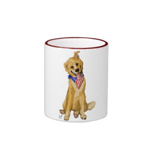 """Patriotic Pup"" Dog With American Flag Bandana Coffee Mug"