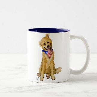 """Patriotic Pup"" Dog With American Flag Bandana Mug"