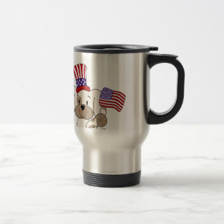 Patriotic Puppy with USA Flag Stainless Steel Travel Mug
