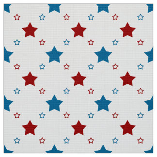Patriotic Red and Blue Stars on White Background
