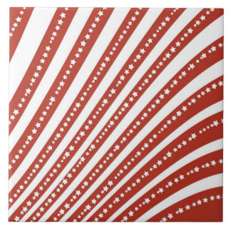 Patriotic Red and White Stars and Stripes Pattern Tile