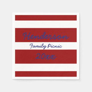 Patriotic Red and White Stripe Paper Napkins