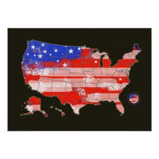 patriotic red blue USA stripes and stars map Poster