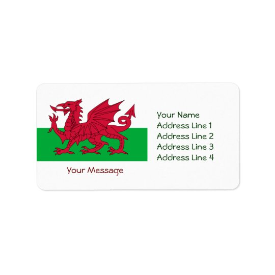 Patriotic Red Dragon Of Wales Name Address Labels