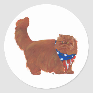 Patriotic Red Longhair Persian Cat Classic Round Sticker
