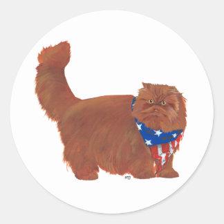 Patriotic Red Longhair Persian Cat Stickers