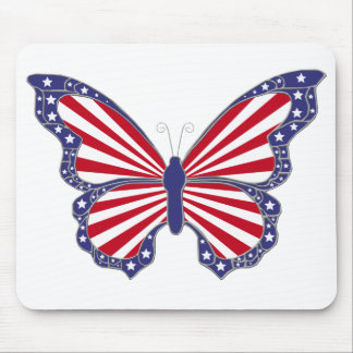 Patriotic Red White And Blue Butterfly  Mouse Pad