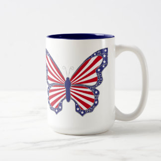 Patriotic Red White And Blue Butterfly Mug