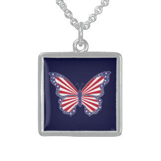 Patriotic Red White And Blue Butterfly  Necklace