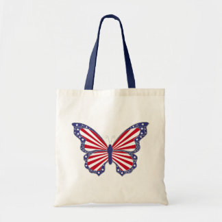 Patriotic Red White And Blue Butterfly Tote Bag