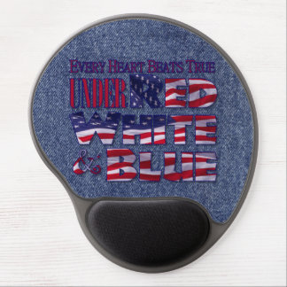Patriotic Red, White and Blue Flag Typographic Gel Mouse Pad