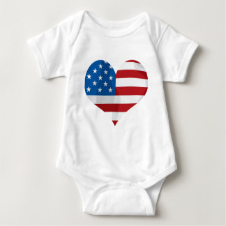 Patriotic Red, White and Blue Heart Baby Bodysuit