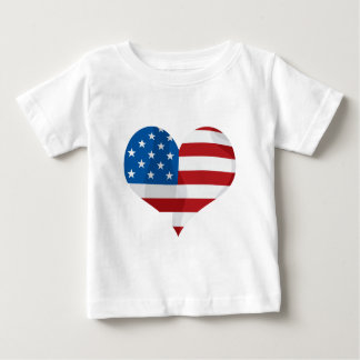 Patriotic Red, White and Blue Heart Baby T-Shirt