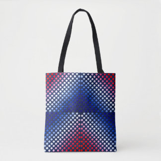Patriotic, red white and blue pattern tote bag