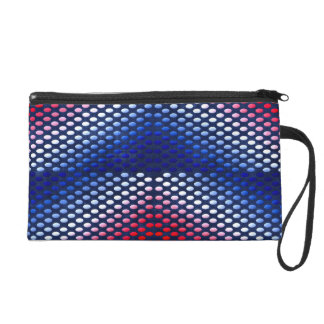 Patriotic, red white and blue pattern wristlet