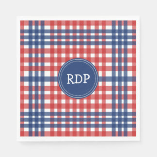 Patriotic Red White and Blue Plaid Custom Disposable Napkins