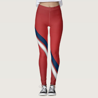Patriotic Red White and Blue Sports Team Stripes Leggings