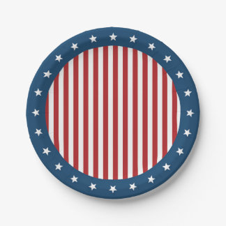 Patriotic Red White and Blue Stars and Stripes 7 Inch Paper Plate