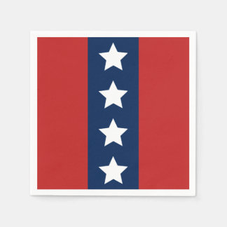 Patriotic Red White and Blue Stars and Stripes Disposable Serviettes