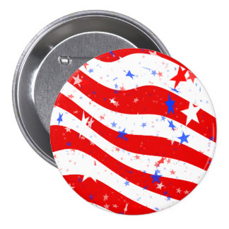 Patriotic Red, White, and Blue Stars & Stripes 7.5 Cm Round Badge