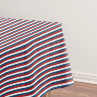 Patriotic Red White and Blue Stripes Tablecloth