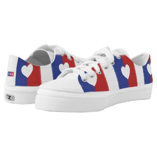 Patriotic Red White And Blue Unity Heart Printed Shoes