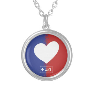 Patriotic Red White And Blue Unity Heart Silver Plated Necklace