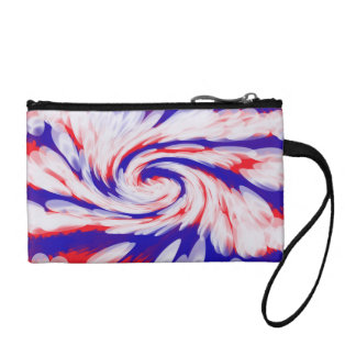 Patriotic red white blue abstract coin wallets