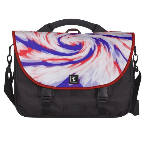 Patriotic red white blue abstract commuter bags