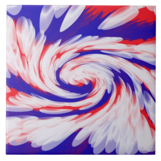 patriotic red white blue abstract ceramic tile