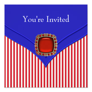 "Patriotic Red White Blue All Occasion Party 5.25"" Square Invitation Card"