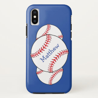 Patriotic Red White Blue Baseball iPhone X Case