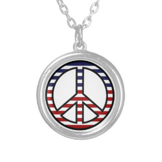 Patriotic Red White Blue Peace Symbol Silver Plated Necklace