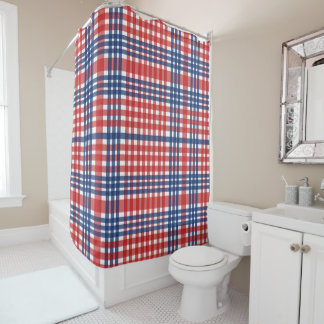 Patriotic Red, White, & Blue Plaid Shower Curtain