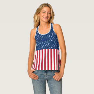 Patriotic Red White Blue Star and Stripes Tank Top