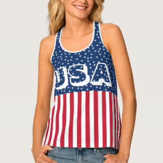Patriotic Red White Blue Star and Stripes USA Tank Top