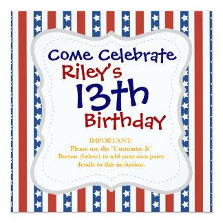 Patriotic Red White Blue Stars and Stripes Freedom 13 Cm X 13 Cm Square Invitation Card