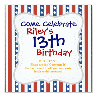 Patriotic Red White Blue Stars and Stripes Freedom 13 Cm X 13 Cm Square Invitation Card