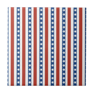 Patriotic Red White Blue Stars and Stripes Freedom Small Square Tile