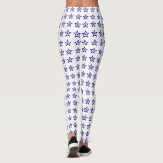 Patriotic Red White Blue Stars Leggings