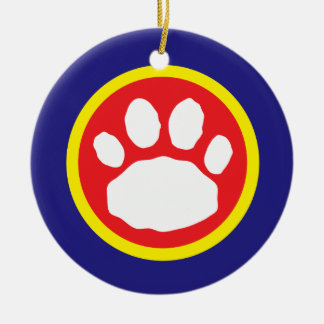 Patriotic Red, Yellow and Blue Paw Print Round Ceramic Decoration