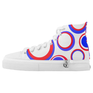 Patriotic retro circle Custom Zipz High Top Shoes Printed Shoes